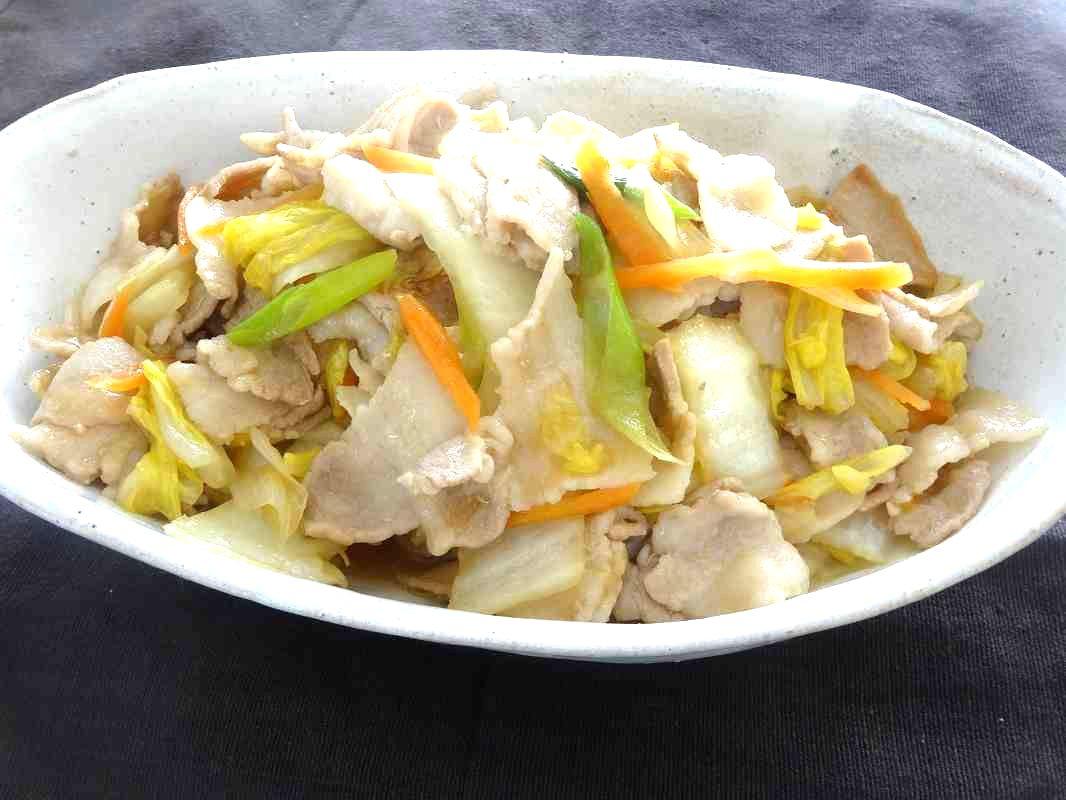 白菜と豚バラの中華炒め